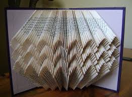 folded book art scalloped iii recycled book art by dancing grey studio