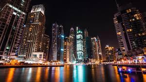 Wallpaper Dubai Uae Skyscrapers Night Lights River