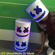 2019 <b>New LED MarshMello DJ</b> Mask Full Head Helmet Cosplay ...