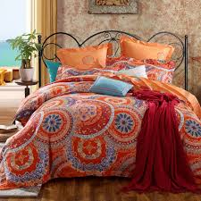 burnt orange and blue geometric circle and modern flower print 100 cotton full queen
