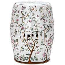 patio stool: flower tree pattern ceramic blooming tree patio stool