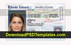 Rhode Island License Template Drivers
