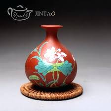 painting clay flower pots clay painting flowers purple clay vase traditional arts handmade crafts flower pot
