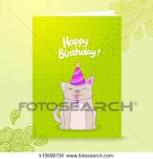 Happy Birthday Postcard Template With A Dog Clipart