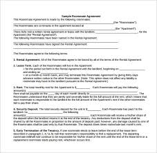 Sample Roommate Contract Sample Roommate Rental Agreement 15 Free Documents In Pdf Word