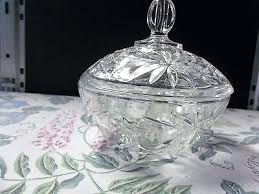 beautiful vintage cut glass candy dish w lid clear star pattern pedestal crystal eight point