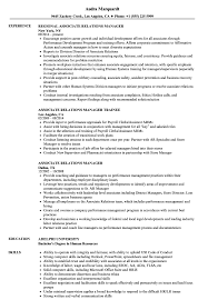 Associate Relations Manager Resume Samples Velvet Jobs