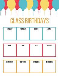 Birthday Chart Printable