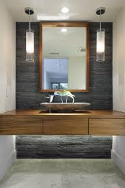 modern bathroom pendant lighting. A Modern Bathroom With Natural Stone Accent Wall And Pendant Lights, Under Bench Lighting. Lighting E