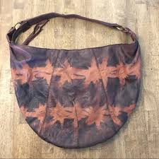 lucky brand hobo brown tie dye leather purse