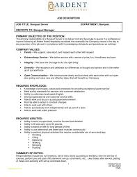 Banquet Server Job Description For Resume Luxury Banquet Server Job