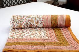 Indian Quilts Online India   Buy Razai Online   Jodhaa Home ... & ... Doubles Cotton designer Quilt / Razai in Floral print in White / Brown  - Queen Size Adamdwight.com
