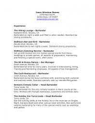 Bartending Resume Templates Saneme