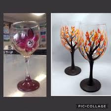 new paint fall wine glasses