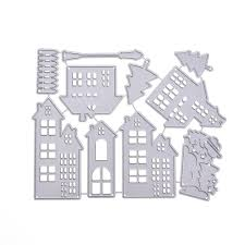 christmas house template us 2 91 30 off christmas house cutting dies stencil metal template mould for diy scrapbook album paper card 30 in cutting dies from home garden on
