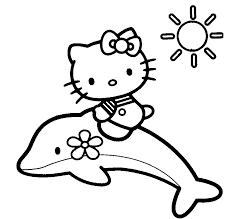 Disegno Di Hello Kitty Sul Delfino Da Colorare Per Bambini Con