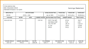 Blank Check Stub Template Pay Payroll Download Free Templ