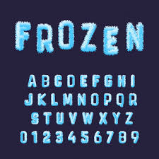 frozen font free download frozen font alphabet template set of blue white hoarfrost numbers