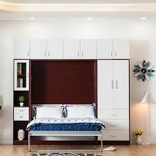 space saving furniture foldable wall bed murphy bed with desk and top cabinet