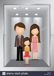 people inside elevator. stock vector - picture open building elevator with people inside illustration