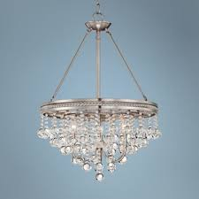 small brushed nickel crystal chandelier