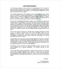 Free Letter Of Recommendation Template For College Medical School Letter Of Recommendation Template And
