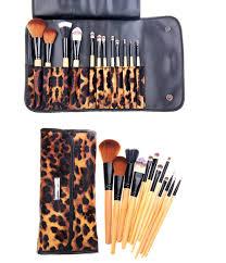 12 piece leopard skin brush set