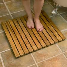 fascinating bathroom design with tile flooring and teak bath mat also claw foot bathtub ideas stylish for indoor outdoor shower decor spa wood round