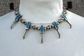 very unusual vintage native american turquoise bear claw sterling silver necklace 5 pendants