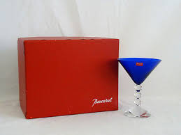 baccarat crystal vega cobalt blue martini glass s mint in box 197 97 pic