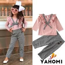 Áo thun tay dài + quần dài caro thời trang thu đông cho bé gái