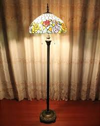 vintage metal base stained glass flower tiffany floor lamp