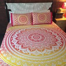 indian handmade bed sheet double size bed cover mandala design knbkh06