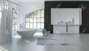 spacious all white bathroom. Large Spacious White Bathroom Interior With A Double Vanity On Black Accent Wall And Modern All C
