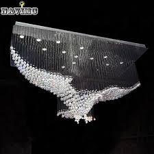 new eagles design luxury modern crystal chandelier lighting re hall led lights cristal lamp l100 w55 h80cm 110v 220v pendant lamp parts wood pendant