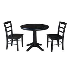 international concepts black 36 inch straight pedestal dining table with 12 inch leaf and two madrid chairs