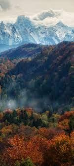 Autumn, Snow covered, Mountain range ...