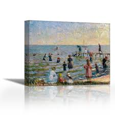bathing at bellport long island 1912 contemporary fine art giclee on canvas gallery wrap wall décor art painting 27 x 22 inch ready to hang