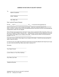 security deposit demand letter template florida return security deposit letter demand landlord impression so