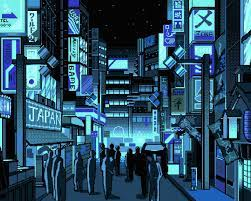 Wallpaper Japan, city street, pixel art ...