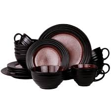 Mcleland Design 32 Pc Stoneware Dinnerware Sets Elama Liana 16 Piece Black Dinnerware Set Products In 2019
