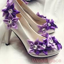 wedding shoes handmade satin purple flower with rhinestone white Wedding Shoes Handmade wedding shoes handmade satin purple flower with rhinestone white cone heel bridal shoes bridesmaid pumps fabulous wedding shoes flat bridal shoes ivory from wedding shoes handmade