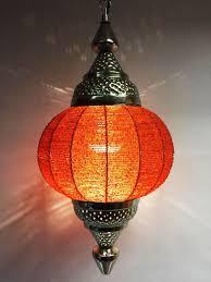 moroccan ceiling lamp shadia orange image 3