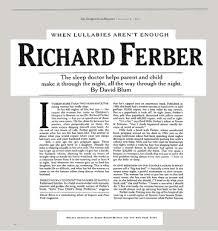 When Lullabies Arent Enough Richard Ferber The New York