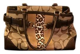 Coach Print Leather Tote Leopard Satchel in Signature  Animal ...