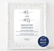 wedding drink menu. Signature Drinks Printable Navy Signature Drink Wedding
