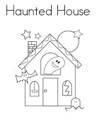 Easy Halloween Haunted House Coloring Pages Printable For