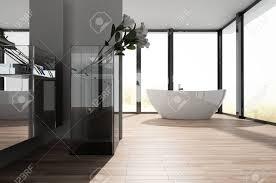 Großes Geräumiges Modernes Badezimmer Mit Einer Freistehenden Ovalen