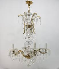 antique 6 arm crystal chandelier 1