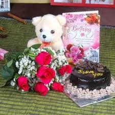 Oyegifts Roses And Chocolate Cake Hamper Including Teddy Bear With